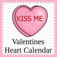 Free Valentines Heart Calendar Cards - Pattern Set, Regular Set and Single Page Calendar - 3Dinosaurs.com