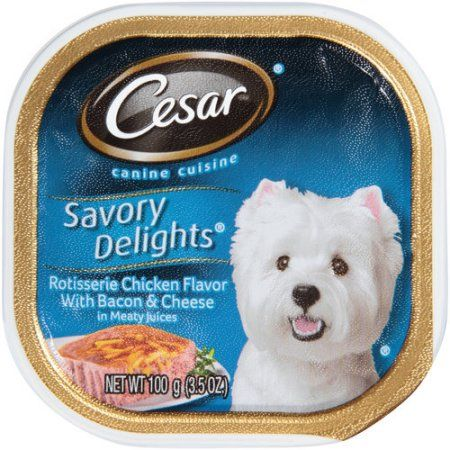 Cesar® Savory Delights® Rotisserie Chicken Flavor with Bacon & Cheese in Meaty Juices Dog Food 3.5 oz. Tray