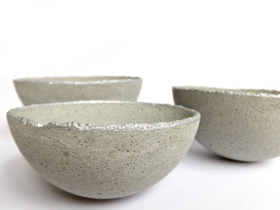 Set of 3 Concrete Bowl Light Grey Home Decor Urban by BetonDeko