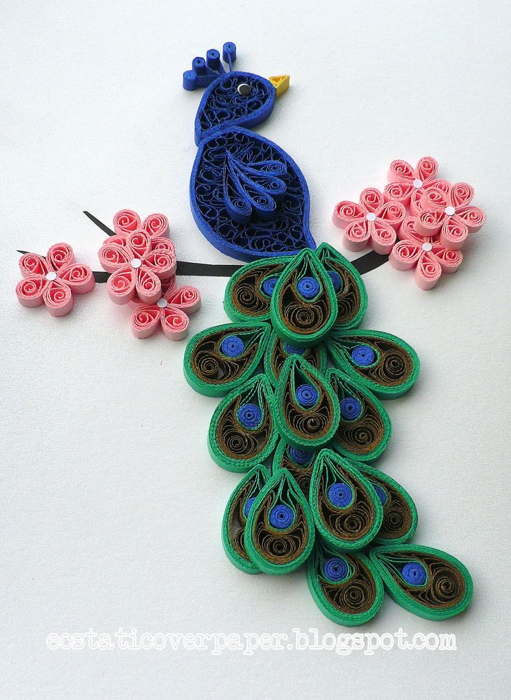 Peacock crafts quilling pinterest beautiful Wall art paper designs