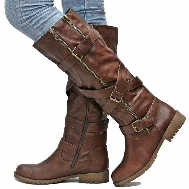 COWGIRL STYLE BOOTS Wrap Around Buckle Detail and Double Zipper Brown Leather Western Riding Boots