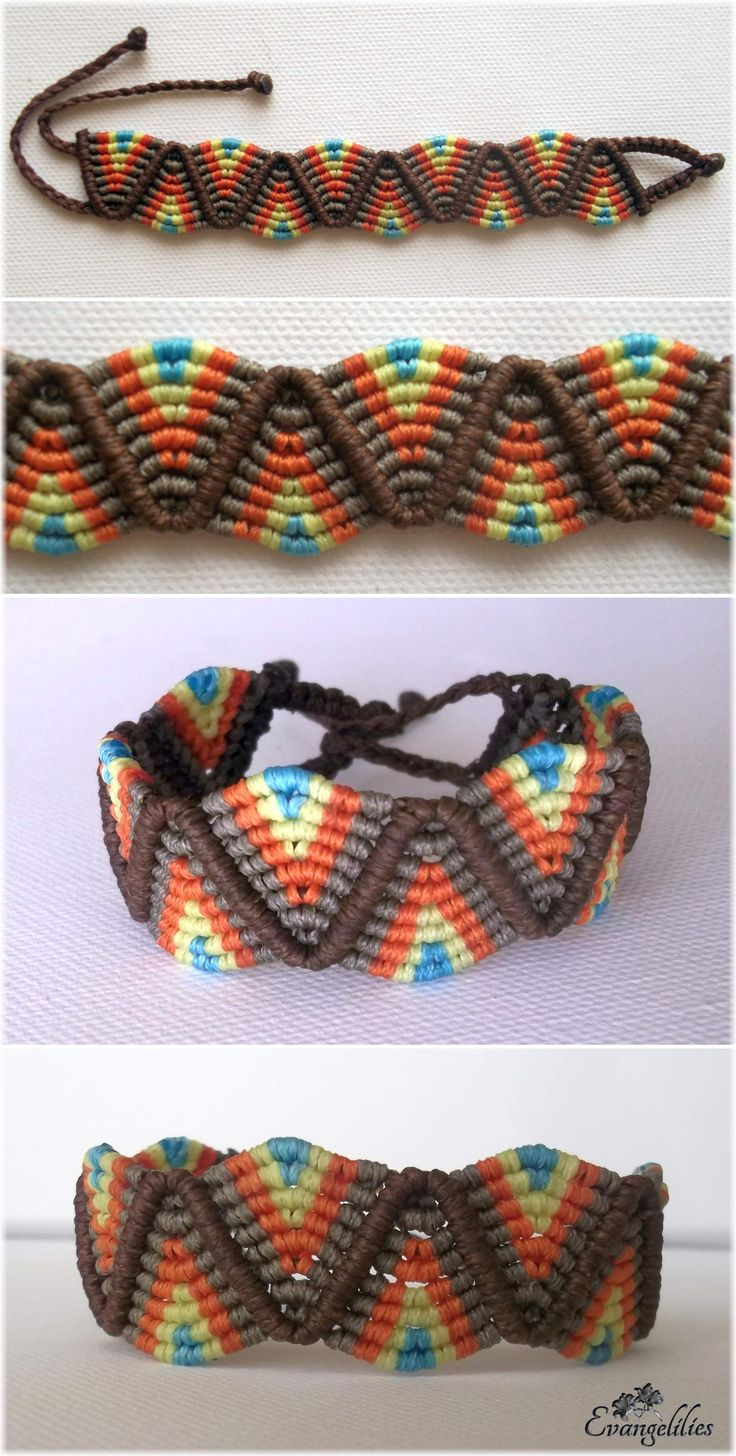 Wavy with triangles macrame bracelet. Video tutorial here: https://www.youtube.com/watch?v=3UinWAVO47Y
