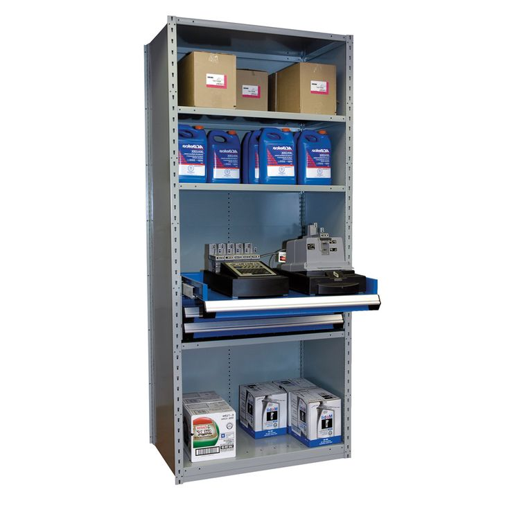 """Shelving with Drawers, 12""""H Drawer Bank : Drawer Bank : Height:12 / No. Shelves:5 / Drawer Cap. (lb.):400 / No. Drawers:2 / Width (inches):36 / Height (inches):87 / Depth (inches):24 / Net weight (lb.):270.76 / Functional design that ensures it's easy to use. / The unique shape of the Spider® post is a Rousseau Metal inc. trademark. / Load capacity and design adapted to storage in most industrial and commercial sectors."""