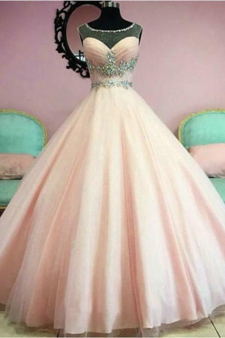 Baby Pink Quinceanera Dresses Scoop Sheer Crystals Beaded Tulle Ball Gown Prom Dancer Perform Dresses