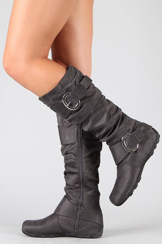 Best 79 Buckle Slouchy Knee High Boot