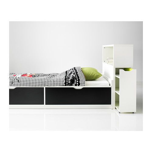 FLAXA Bed frame w/storage+slatted bedbase IKEA The 2 large drawers give you extra storage space under the bed.