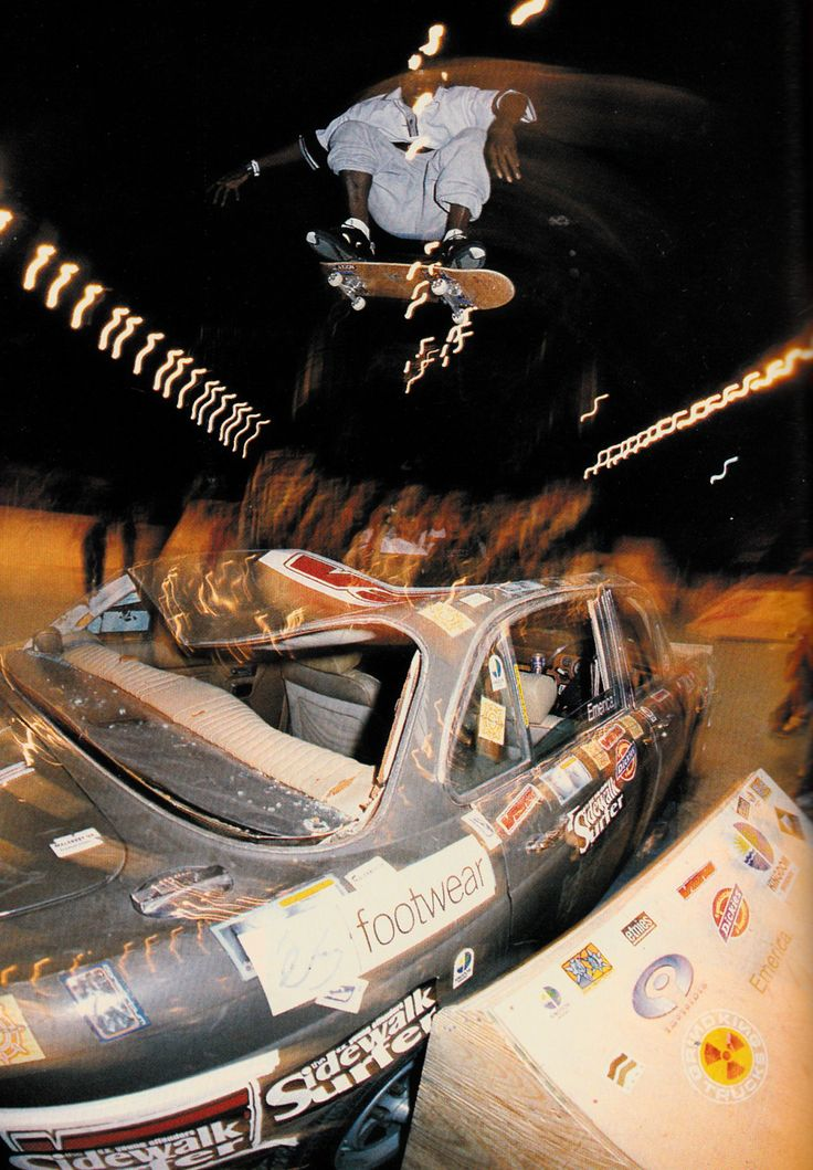 Kareem Campbell kickflips a car at Londons Generation 1997. TWS photo by Pete Thompson.