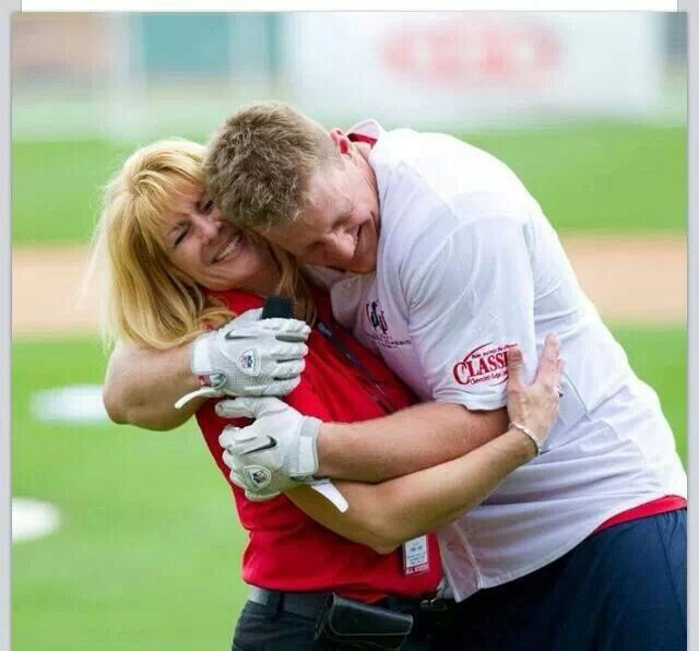 JJ Watt and his mom. I hope this is the relationship I have with my Jax! Loveeee it!