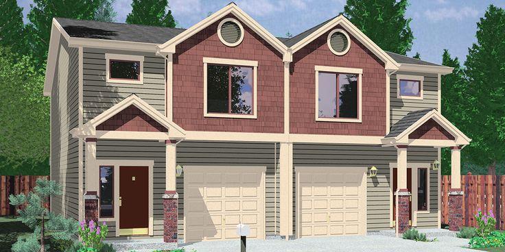 House front color elevation view for D-599 Duplex house plans, 2 story duplex plans, 3 bedroom duplex plans, 40x40 ft duplex plan, duplex plans with garage in the middle, D-599 #duplexandapartmentplans