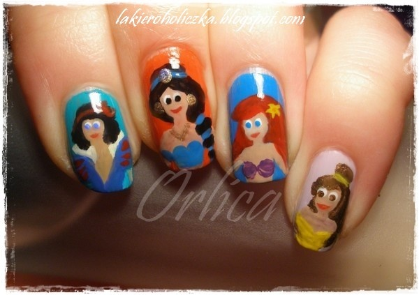 disney princess nails - for my lil sis to try - snow white, jasmine, ariel, and belle