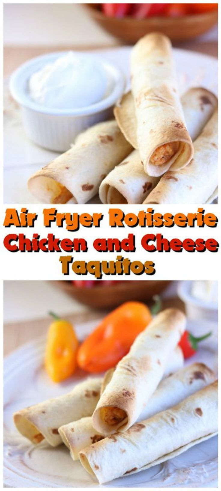 Air Fryer Rotisserie Chicken and Cheese Taquitos Recipe