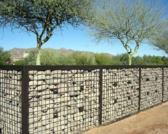 Gabion wall with river rock fences pinterest gardens Gabion wall design