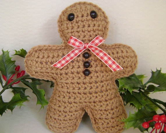 Crochet Gingerbread Man Christmas Holiday Decoration Amigurumi Plush Accent S...