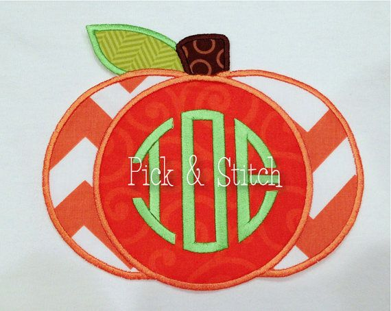 Monogram Pumpkin Fall Applique Design Machine Embroidery INSTANT DOWNLOAD on Etsy, $4.00