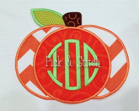 Monogram Pumpkin Fall Applique Design Machine by pickandstitch, $4.00