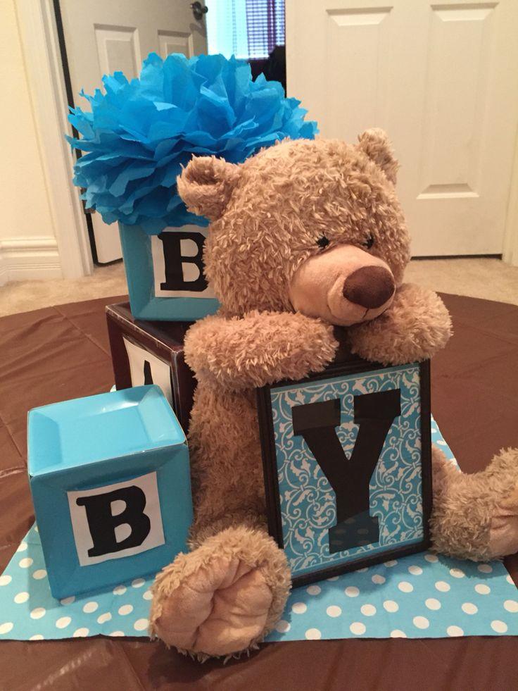 Alphabet blocks and teddy bear themed centerpiece.