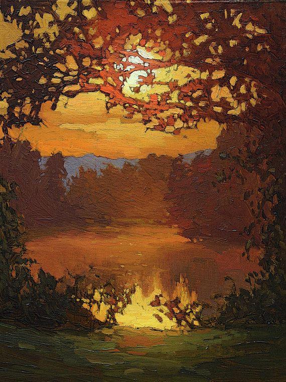 "Mission Arts and Crafts CRAFTSMAN - Matted Giclee Fine Art Print ""Golden Pond"" Sunset 11x14 by Jan Schmuckal"