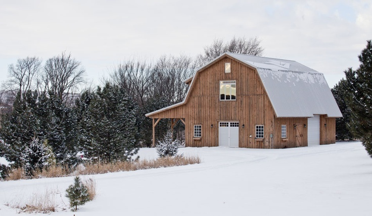 Winter Barn Home - Beautiful Setting!  www.sandcreekpostandbeam.com  https://www.facebook.com/pages/Sand-Creek-Post-Beam-Traditional-Post-Beam-Barn-Kits/66631959179