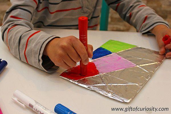 Aluminum foil paintings | Painting on foil | Children's art | Kids art projects || Gift of Curiosity