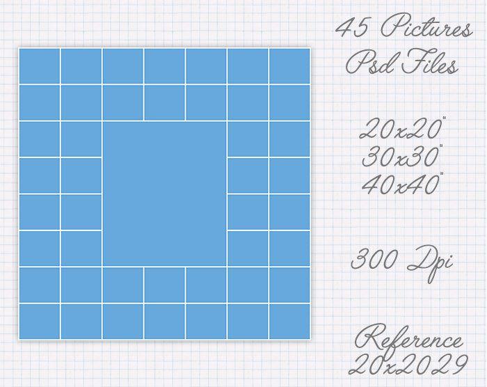 Plantilla collage de 20x20 30x30 40x40 pulgadas (45 fotos) ref 20x20029 de JuanmiDesigns en Etsy