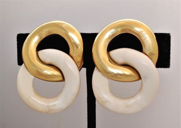 "Vintage GIVENCHY CLIP EARRINGS Gold Plated Mottled Tan White Double Loops 1.5"" #Givenchy #DoubleLoops"