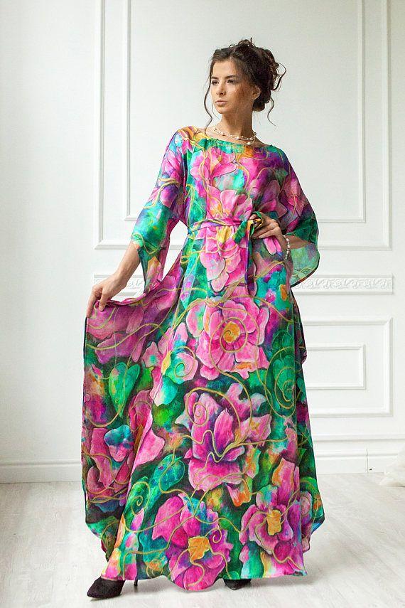6d1d1eb07660 Golden Glow Natural silk dress Loose maxi dress Mother of