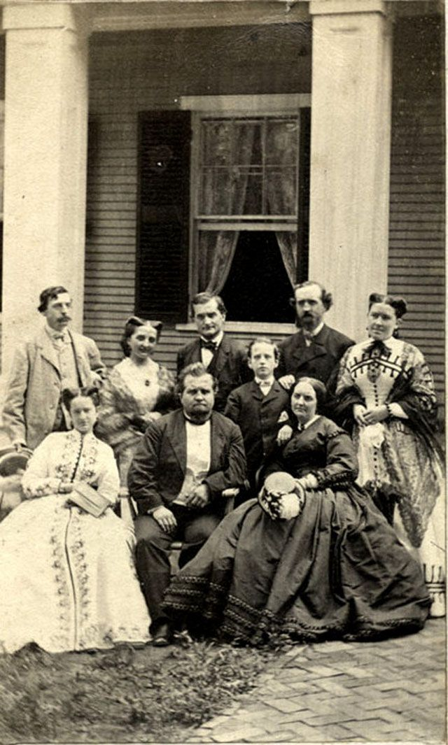"""""""A group poses in front of a house in Saratoga Springs, New York. ca. late 1860s. via MyModernMet."""""""