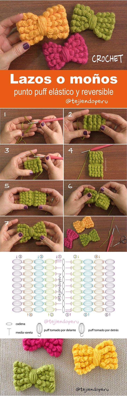 Moños o lazos tejidos a crochet en punto puff elástico y reversible... ¡video tutorial del paso a paso!
