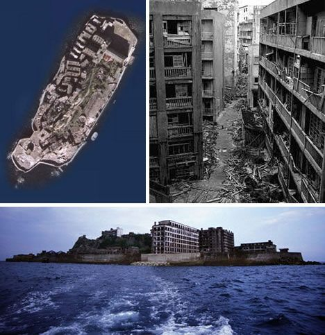 "Calling all documentary makers | Courtesy of Web Urbanist, desterted Island City of Hashima, Japan, follows in a series of pins on abandoned towns as potential documentary film material. Fascinating back story: ""Once a thriving coal-mining city its population density grew to be the highest on the planet, with workers crammed vertically in ever-growing buildings and walked daily through ever-narrowing streets""."