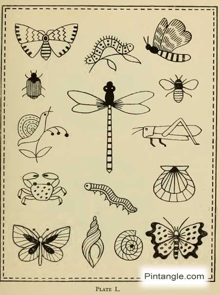 hand embroidery pattern of insects