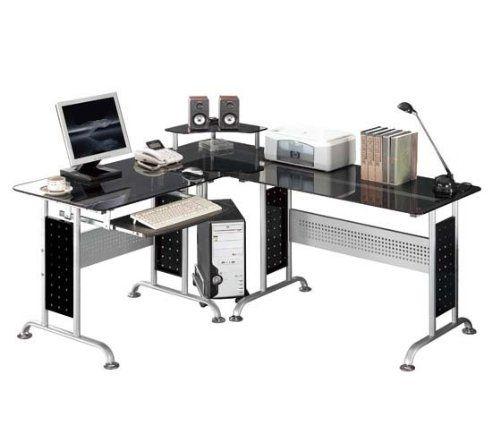Siempre las cosas más últiles para tu hogar: SixBros. Mesa de ordenador Vidrio/Negro - CT-3807/46 - Vidrio negro - Estructura metal gris plateado #homedecor #garden #hogar #jardin #decoracion