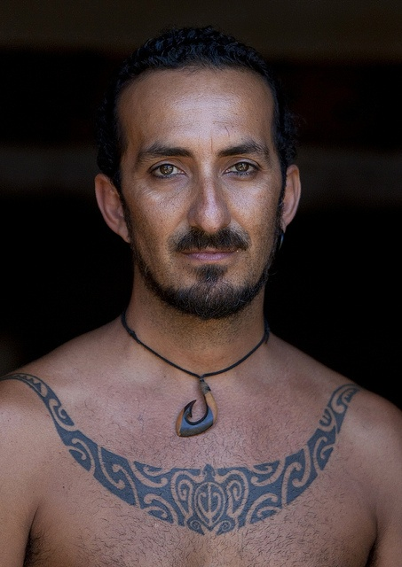 Mokomae With A Shark Jaw tattoo , Easter Island, Chile by Eric Lafforgue, via Flickr