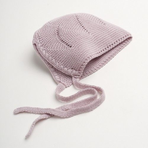 Pink knitted baby bonnet - Sainte Claire
