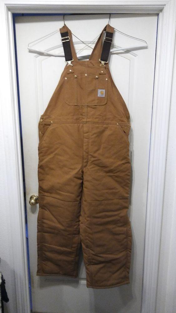 ebay sponsored new mens carhartt r08 brn duck arctic bib on insulated work overalls id=23698