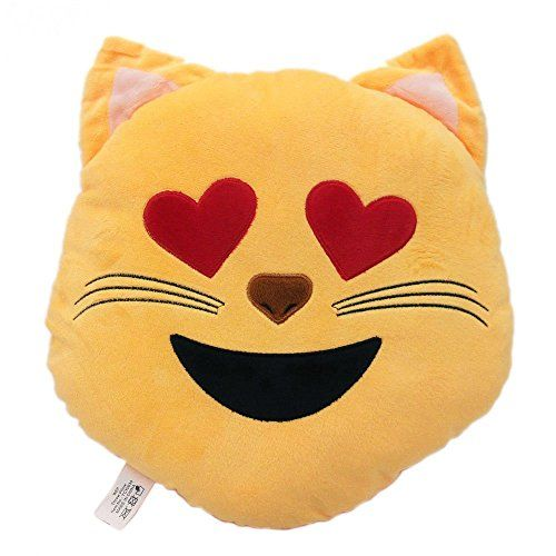 Animal Emoji Smiley Emoticon Round Cushion Pillow Stuffed Cute Plush Soft Toy Doll Cat Dog Bunny Piggy Unicorn Cow Car Home Office Accessory (CAT)