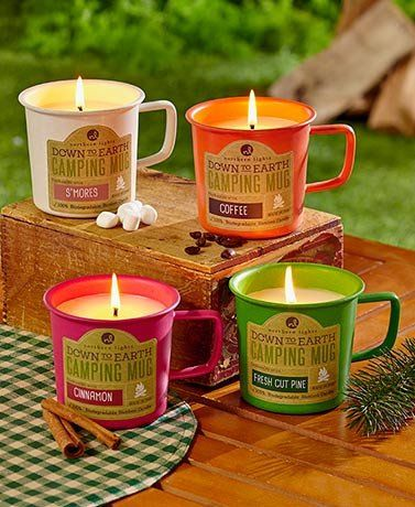 Scented Coffee Cup Novelty Candles Calling all Campers and Coffee lovers. #scentedcandles #coffeelovers #camping #noveltycandles #candles