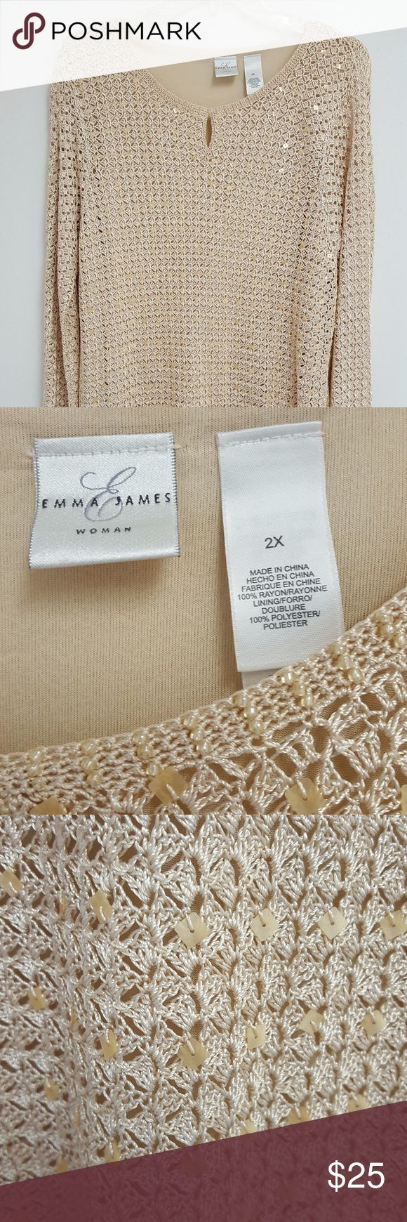 """EMMA JAMES WOMAN SIZE 2X TOP FROM THE ESTATE OF A TOP EXECUTIVE WITH MACY'S IN NEW YORK CITY.  THIS ELEGANT TOP MEASURES 31"""" LONG FROM SHOULDER TO BOTTOM AND 19"""" FROM ARMPIT TO ARMPIT. Emma James Tops"""