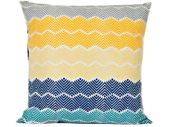 Blue Chevron Pillow Cover Modern Yellow Gray Navy