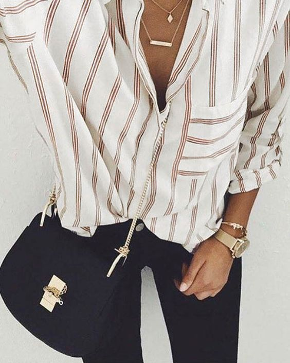 stripe button up. Black jeans. Gold watch