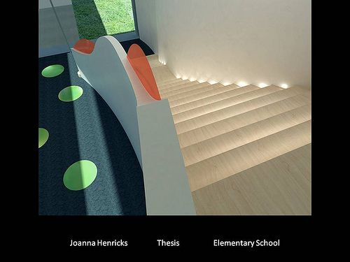 Carpet Lighted Stairs Joanna Henricks BFA Interior Design Thesis Elementary School Harrington