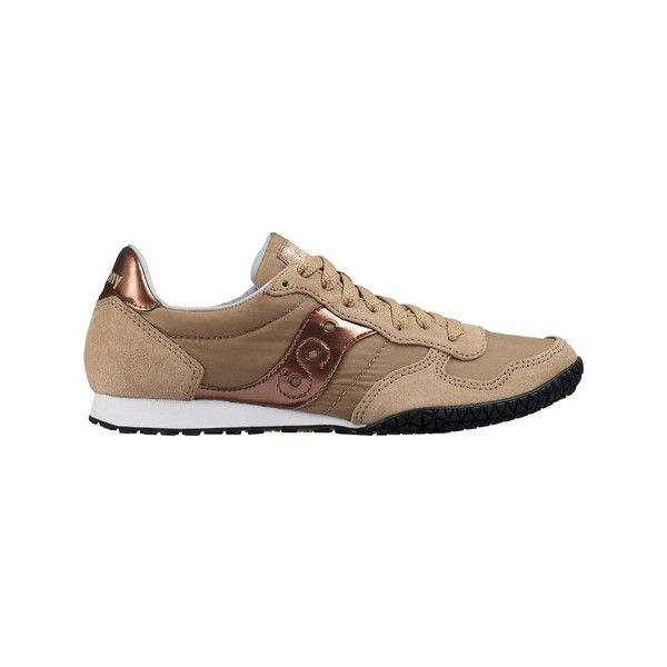 Women's Saucony Bullet Original Sneaker - Tan/Rose Gold Athletic ($55) ❤ liked on Polyvore featuring shoes, sneakers, tan shoes, saucony sneakers, saucony trainers, tan sneakers and saucony shoes