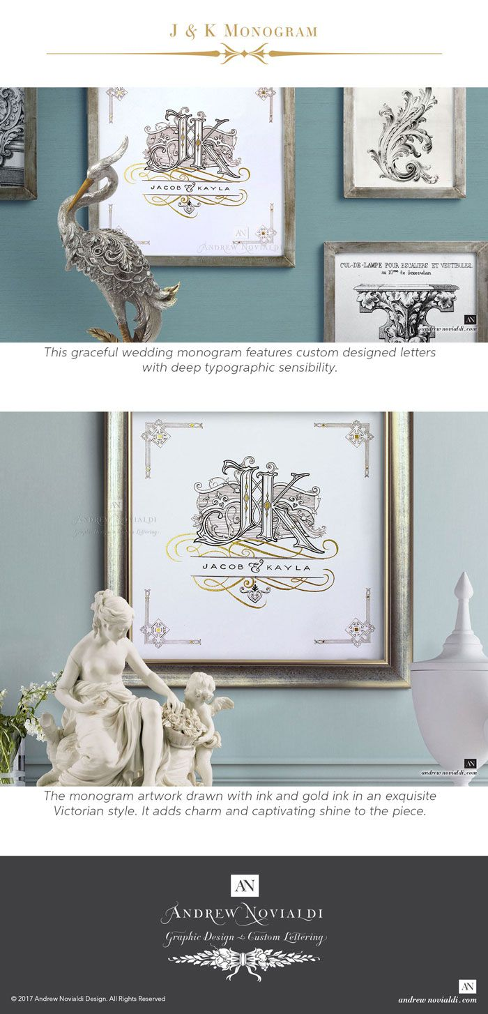 Adorned with filligree of leaves and Baroque scrollwork, this wedding monogram presents a pair of elegantly crafted letters. The intial J has the fantastic contrast of strong lines on the stem and beautiful swooping curves at the tail. The initial K looks elegant with its elogated leg that finished in a fine curve. Each letter looks exquisite in its own right but also work together beautifully as a couple. The monogram artwork drawn with ink and gold ink in an exquisite Victorian style.