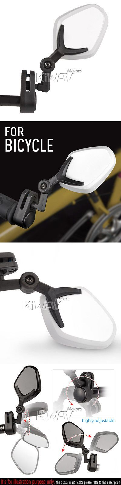 Mirrors 111264: 360° Rotate Adjust Bike Safety Mirror Bar End Petal Convex White -> BUY IT NOW ONLY: $39 on eBay!