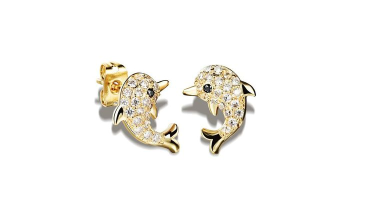 18K Gold/Silver Plated Dolphin Shaped Stud Earrings – dolphin jewelry