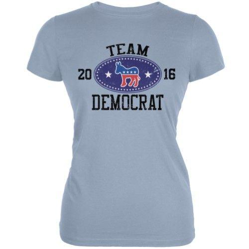 Election Team Democrat 2016 Light Blue Juniors Soft T-Shirt, Women's, Size: XL