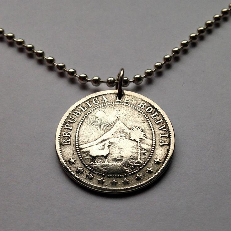 1902 Bolivia 10 centavos coin pendant charm necklace jewelry sun mountains Cerro Rico Cerro Menor chapel palm tree llama alpaca No.001220 by acnyCOINJEWELRY on Etsy
