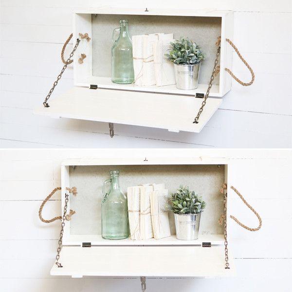 White Washed Wooden Box Shelf | Farmhouse Cottage