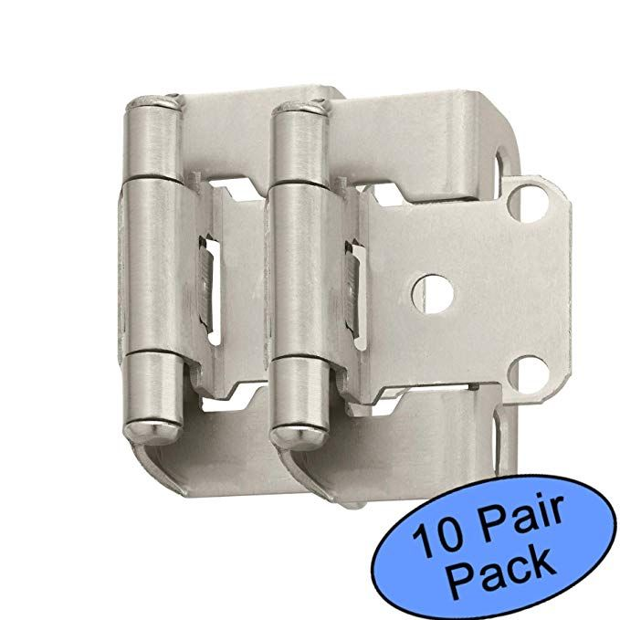 Amerock Bp7550 G10 Satin Nickel Self Closing Partial Wrap Cabinet Hinge 1 2 Overlay 10 Pair Pack Hinges For Cabinets Overlays Florida Home