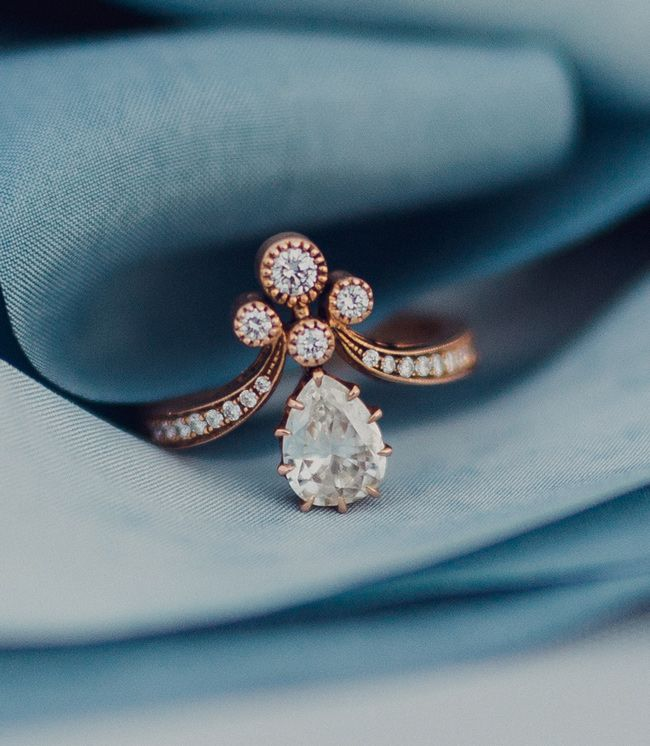 rose gold unique tiara engagement ring with pear diamond - Bohemian Wedding Rings