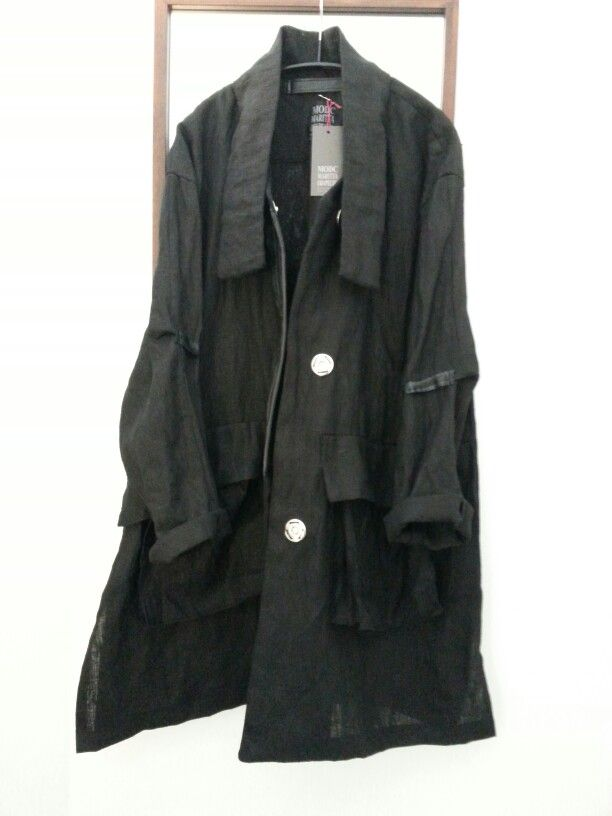 MODC coat, linen/leather.Black. Big size metallic pressbuttons.